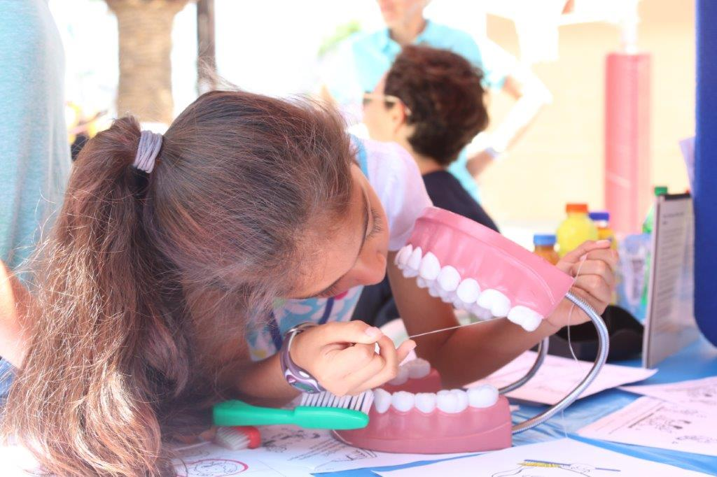 Child practicing teeth cleaning on large plastic teeth